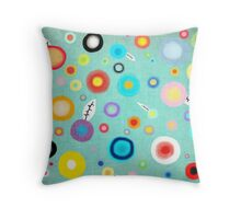 Colorful Happy Circles Throw Pillow