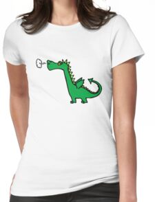 Green Cartoon Dragon Drawing Womens Fitted T-Shirt