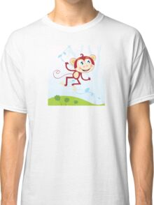 Jungle monkey. Funny animal jumping in jungle Classic T-Shirt