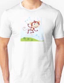 Jungle monkey. Funny animal jumping in jungle Unisex T-Shirt
