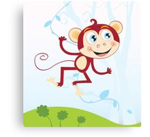 Jungle monkey. Funny animal jumping in jungle Canvas Print