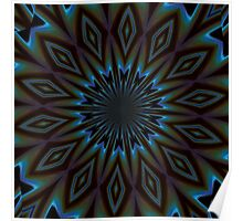 Blue and Brown Floral Abstract Poster