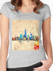 NYC Skyline Grunge Women's Fitted Scoop T-Shirt