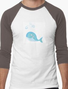Blue ocean whale. Big underwater animal Men's Baseball ¾ T-Shirt
