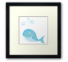 Blue ocean whale. Big underwater animal Framed Print