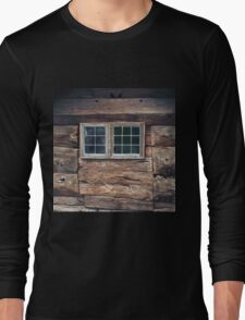 Rustic,old,worn,grunge,vintage,antique,wood wall,windows,Norwegian wood wall,country chic Long Sleeve T-Shirt