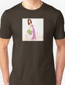 Spring shopping. Vector Illustration of woman with shopping bags. Unisex T-Shirt