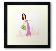Spring shopping. Vector Illustration of woman with shopping bags. Framed Print