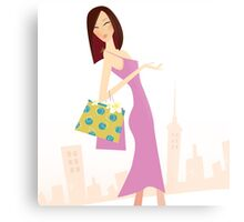 Spring shopping. Vector Illustration of woman with shopping bags. Metal Print