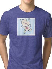 Blue Teddy bear. Children's Toy. Bear with heart, can be symbol of Love Tri-blend T-Shirt