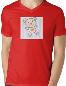 Blue Teddy bear. Children's Toy. Bear with heart, can be symbol of Love Mens V-Neck T-Shirt