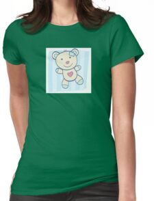 Blue Teddy bear. Children's Toy. Bear with heart, can be symbol of Love Womens Fitted T-Shirt