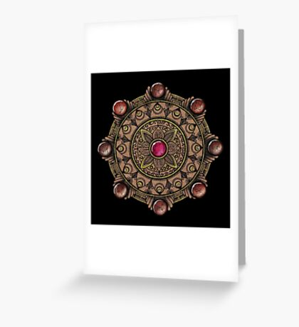 Brown Gemstones Mandala Greeting Card