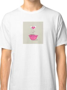 Wonderful love hat. Vector Illustration of love flower growing from hat. Classic T-Shirt