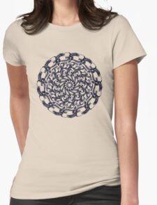 Mandala Dark- white Womens Fitted T-Shirt