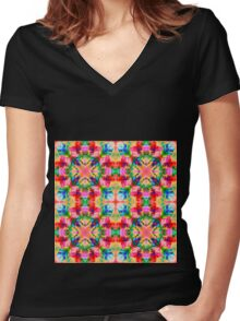 Colors of the kaleidoscope. Colorful ornament.  Women's Fitted V-Neck T-Shirt