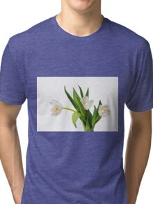 White tulips on white Tri-blend T-Shirt