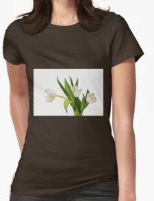 White tulips on white Womens Fitted T-Shirt