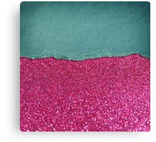 Glitter,glam,hot pink,teal,ripped,parchment,paper,elegant,chic,modern,trendy Canvas Print
