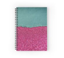 Glitter,glam,hot pink,teal,ripped,parchment,paper,elegant,chic,modern,trendy Spiral Notebook