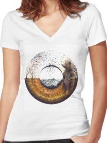 Brown Bear Eye Women's Fitted V-Neck T-Shirt