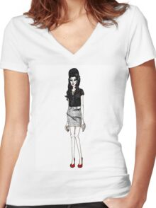 Amy Winehouse Women's Fitted V-Neck T-Shirt