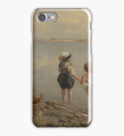 Franz Leo Ruben  Girl washing while children and sail a toy boat iPhone Case/Skin