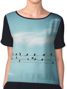 » Birds sitting on powerline  Chiffon Top