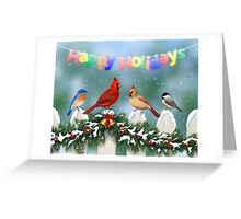 Winter Songbirds and Christmas Garland Greeting Card