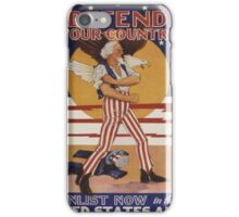 Vintage poster - Defend Your Country iPhone Case/Skin