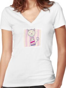 Pink kitten. Stripped small cute baby kitten Women's Fitted V-Neck T-Shirt