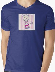 Pink kitten. Stripped small cute baby kitten Mens V-Neck T-Shirt