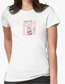 Pink kitten. Stripped small cute baby kitten Womens Fitted T-Shirt