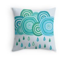Funny rainy clouds Throw Pillow