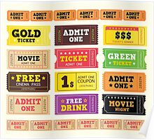 Vector Illustration. Vintage cinema tickets. BIG COLLECTION Poster