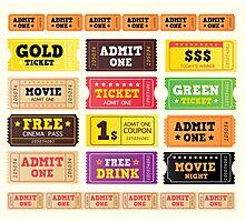 Vector Illustration. Vintage cinema tickets. BIG COLLECTION Photographic Print