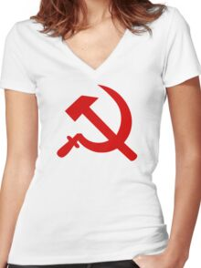 Hammer Sickle Women's Fitted V-Neck T-Shirt