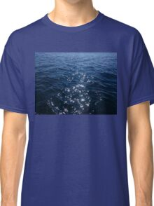 Sparkly Deep Blue Sea Waves Classic T-Shirt