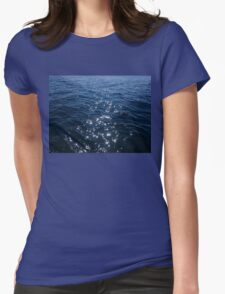 Sparkly Deep Blue Sea Waves Womens Fitted T-Shirt
