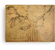 Map of Great Lakes 1812 Metal Print