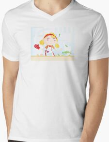 Funny kitchen girl. Cooking girl have fun in the kitchen Mens V-Neck T-Shirt