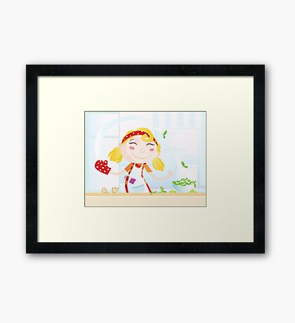 Funny kitchen girl. Cooking girl have fun in the kitchen Framed Print