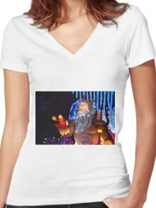 King Triton Paint the Night Women's Fitted V-Neck T-Shirt