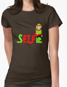Christmas Elf Cute Funny Selfie Graphic Womens Fitted T-Shirt