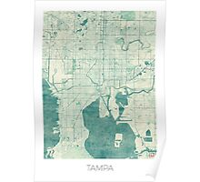 Tampa Map Blue Vintage Poster