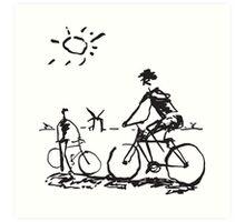 Picasso Bicycle - Biking Sketch Art Print