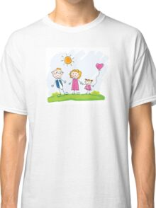 Doodle happy family. Mother, father and child on green meadow Classic T-Shirt