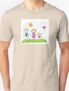 Doodle happy family. Mother, father and child on green meadow Unisex T-Shirt