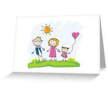 Doodle happy family. Mother, father and child on green meadow Greeting Card