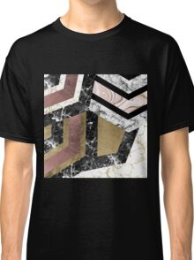 Abstract chic faux rose gold black white marble  Classic T-Shirt